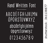 handwritten font  white on... | Shutterstock .eps vector #361138877