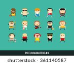 set of different pixel art... | Shutterstock .eps vector #361140587