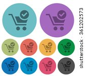 color checkout flat icon set on ...
