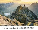 tourist on the top of mountains ... | Shutterstock . vector #361205633