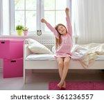 a nice child girl enjoys sunny... | Shutterstock . vector #361236557