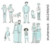 Big Set Of People Cartoon Styl...