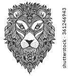ethnic lion. a tattoo of a lion ... | Shutterstock .eps vector #361246943