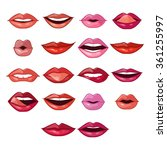 lips expressions and shapes.... | Shutterstock .eps vector #361255997