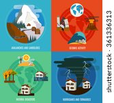 natural disaster 4 flat icons... | Shutterstock .eps vector #361336313