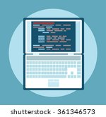 simple laptop with code vector... | Shutterstock .eps vector #361346573