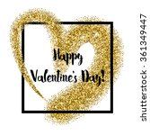 glitter heart square frame with ... | Shutterstock .eps vector #361349447