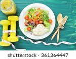 fresh salad  fruits with sport... | Shutterstock . vector #361364447