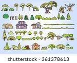 landscape elements vector set...