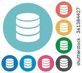 flat database icon set on round ...