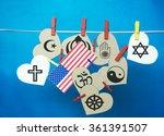 white  hearts   usa   america ... | Shutterstock . vector #361391507