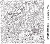 valentine's day sketch pattern. ... | Shutterstock .eps vector #361392743