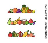 vector collection of fruit line ... | Shutterstock .eps vector #361395893