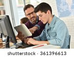 teacher in computing class... | Shutterstock . vector #361396613