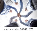 smiling group of businesspeople ... | Shutterstock . vector #361411673