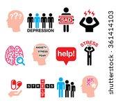 depression  stress icons set  ...   Shutterstock .eps vector #361414103
