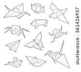 origami vector set  crane  bird ...   Shutterstock .eps vector #361426937