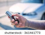 woman using smart phone and... | Shutterstock . vector #361461773