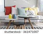 colorful pillows on a sofa with ... | Shutterstock . vector #361471007