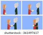 granddaughter grandma gives a... | Shutterstock .eps vector #361497617