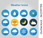 flat color weather icons.... | Shutterstock .eps vector #361559783