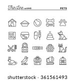 Stock vector pets thin line icons set vector illustration 361561493
