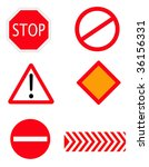 vector stop and warning signs | Shutterstock .eps vector #36156331