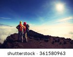 two successful backpacker enjoy ... | Shutterstock . vector #361580963