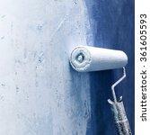 paint roller applying blue...   Shutterstock . vector #361605593