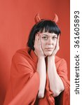 pretty woman with devil horns... | Shutterstock . vector #361605893