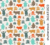 funny animal seamless pattern... | Shutterstock .eps vector #361651823