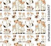 seamless muslim family in white ... | Shutterstock .eps vector #361666547