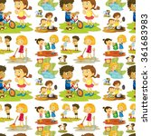 seamless children playing and...   Shutterstock .eps vector #361683983
