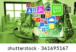 business man using tablet pc... | Shutterstock . vector #361695167
