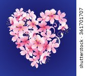 Vector Pink Flowers Heart On...