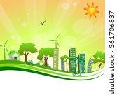 green city on the orange...   Shutterstock . vector #361706837