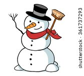 Cartoon Snowman Character With...