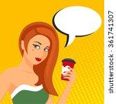 pop art illustration of woman...   Shutterstock . vector #361741307