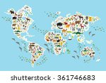 cartoon animal world map for... | Shutterstock . vector #361746683