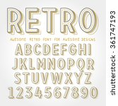 vector retro font with shadow.... | Shutterstock .eps vector #361747193