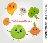 vector set of happy vegetables... | Shutterstock .eps vector #361771343