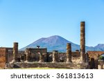 Small photo of Pompeii city destroyed in 79BC by the eruption of Mount Vesuvius