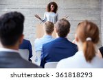 businesswoman addressing... | Shutterstock . vector #361818293