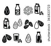 almonds  almond milk vector... | Shutterstock .eps vector #361823723
