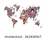 avatars in world map | Shutterstock .eps vector #361828367