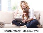 portrait of a beautiful happy... | Shutterstock . vector #361860593