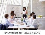 hispanic businesswoman leading...   Shutterstock . vector #361871147