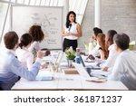 hispanic businesswoman leading... | Shutterstock . vector #361871237