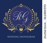vintage vector monogram.... | Shutterstock .eps vector #361884593