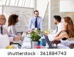 caucasian businessman leading...   Shutterstock . vector #361884743